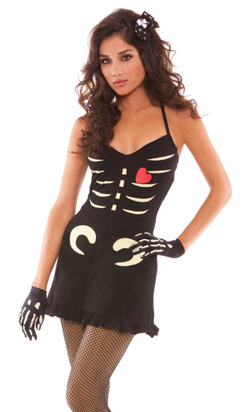 Dying to Please You costume includes black dress with skeleton and heart detail, hair bow, and gloves. Glow in the dark.