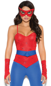 Spider Super Hero costume includes sleeveless top, pants, belt, mask and fingerless gloves. Five piece set.