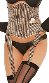 Pinstriped waist cincher with hook and eye front, boning, detachable garters, lace up back and detachable pocket watch.