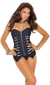 Denim military style corset. Corset is strapless with zip front, silver grommets, silver ribbon detail and matching G-string.