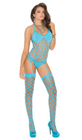Strappy diamond net camisette with halter neck and adjustable garters. Matching G-string and thigh high stockings included. Three piece set.