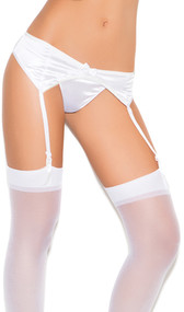 Stretch satin garter belt with hook and eye back closure, satin bow detail, and adjustable garters.