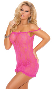 Stretch lace sheer chemise with satin bow detail and ruffle trim. Can be worn off the shoulder.