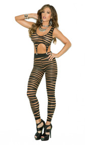 Striped footless bodystocking with garter clips. Top is detachable.
