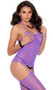Striped halter neck suspender bodystocking with cut out detail and open crotch.