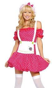 Sweet Strawberry costume includes dress with built in petticoat, apron, and hat with bow. Three piece set.