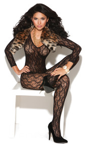 Long sleeve lace bodystocking with deep V neckline and open crotch.