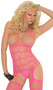 Vertical striped suspender bodystocking with open crotch.