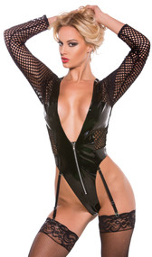 Black vinyl and fishnet teddy with plunging neckline. Features a front zipper opening, long fishnet sleeves, and a thong back. Garters are adjustable and detachable.