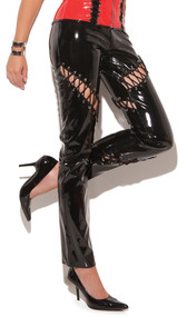 Vinyl pants with cut out lace up detail and front zipper closure. Back side has lace up detail on left leg only, rest is plain.