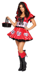 Wolf Bait Little Red Riding Hood costume includes lace trim hooded dress with bow. One piece costume.