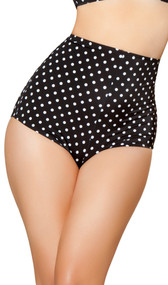 Polka dot pinup style high-waisted shorts with zipper back.