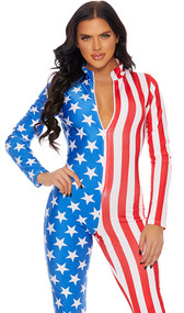 American flag long sleeve jumpsuit with front zipper closure.