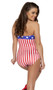 Strapless retro style pinup romper with American flag print.