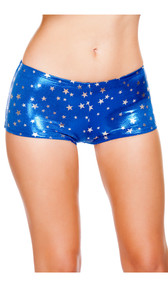 Metallic boy shorts with silver stars print.