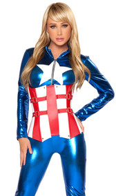 Super hero costume includes long sleeve metallic catsuit with zip front and star detail. Fully boned two tone waist cincher with buckle and stud detail and lace up back. Two piece set. Boots not included.
