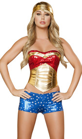 Wonder Heroine costume includes strapless sequin top, metallic waist cincher with zip side and lace up back, metallic star print shorts, and headband. Four piece set.