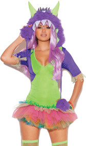 One Eyed Monster costume includes tutu dress, and furry monster hood with one eye. Two piece set.