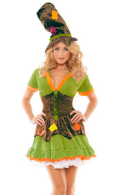 Racy Ragamuffin costume includes patchwork lace up dress and hat. Overlay on the dress (attached) and hat are velvet. Two piece set.
