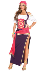 Gypsy Maiden costume includes off the shoulder halter top, skirt, sash, head scarf and bracelets. Five piece set.