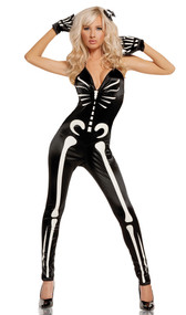 Sexy Skeleton costume includes jumpsuit with glow in the dark bones, gloves and hairpin. Three piece set.