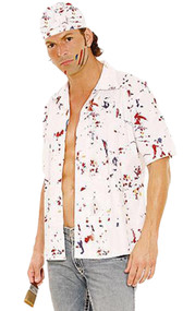 Men's Paint the Town costume includes button down shirt, hat and mini paint brush. Three piece set.