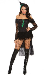 Emerald Nites Witch costume includes long sleeve dress with lace trim, lace up front and layered bustle, neck piece and hat head piece. Three piece set.