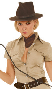 This brown hat is made from a stiff, yet bendable, felt-like material and features brown hatband and trim along brim.