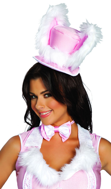 White Rabbit Hat. Ears are fur trimmed (faux). Hat sits on head and ties around the chin or back of the head.