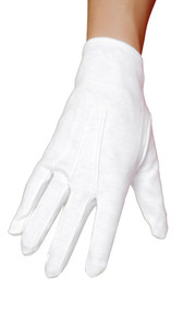 Plain white wrist length gloves.