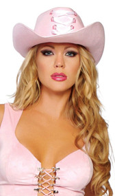 Pink cowgirl hat with front lace-up detail.