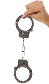 Functional metal handcuffs with rhinestone detail on one side of each cuff. Two keys are included.