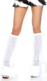 Fluffy legwarmers featuring fishnet mesh and fun faux fur trim. They hang from the knee and give any outfit or costume a sexy bell bottom flair.