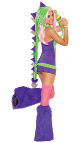 Dino Doll costume includes two-toned halter dress and dinosaur hood. Two piece set.