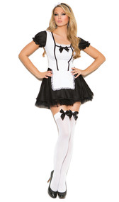 Maid costume includes short sleeve dress with ruffled sleeves, satin bow detail, lace up back and attached apron. Head piece with bow detail. Two piece set.