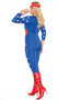 American Hero costume includes star print long sleeve jumpsuit with zipper front, v neckline, and plain back. Wrist band with mini shield decoration and headband with star also included. Three piece set.