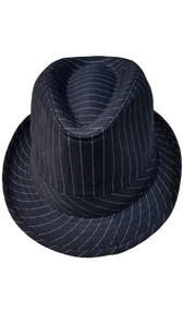 Trilby fedora mobster costume hat, black with white pinstripes.