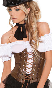 Underbust corset with lace up front detail, grommets, faux buttons, boning and velcro back closure.