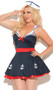 Sailors Delight costume includes sleeveless dress with attached collar, ruffled back, star and anchor details and satin bow. Sailor hat with anchor detail. Two piece set.