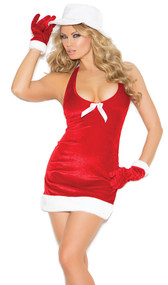 Santa's Honey costume includes velvet halter mini dress with faux fur trim and satin bow detail, hat and gloves. Three piece set.