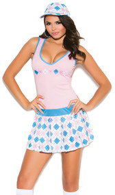 Golf Tease costume includes sleeveless pleated dress and hat. Two piece set.