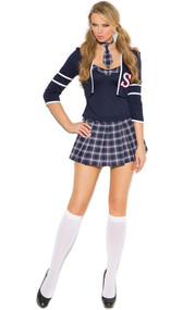 Class Distraction school girl uniform costume includes sleeveless cami top, three quarter sleeve crop jacket, pleated mini skirt and tie. Four piece set.
