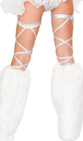 Space silver leg strap with attached garter. 100 inches long. 2 per package.