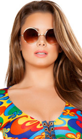 Retro style hippie glasses with gold frames and round lenses.