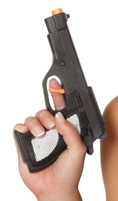 Black plastic prop gun costume accessory. Working trigger.