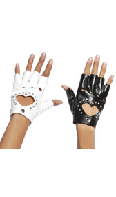 Fingerless wrist length gloves with heart cut out and rhinestone detail. Snap closure.