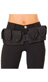 Utility and ammo belt. Belt has 10 snap close compartments to store all manner of gear. Buckle closure on front and belt slide, size adjustment on back.
