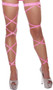 Solid color leg strap with attached garter and rhinestone details. 100 inches long. 2 per package.