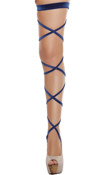 Velvet leg strap with attached garter. 100 inches long. 2 per package.