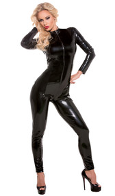 Long sleeve catsuit with front zipper opening.